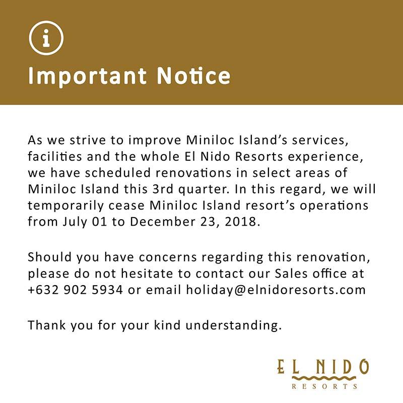 Important Notice MIR-Renovation