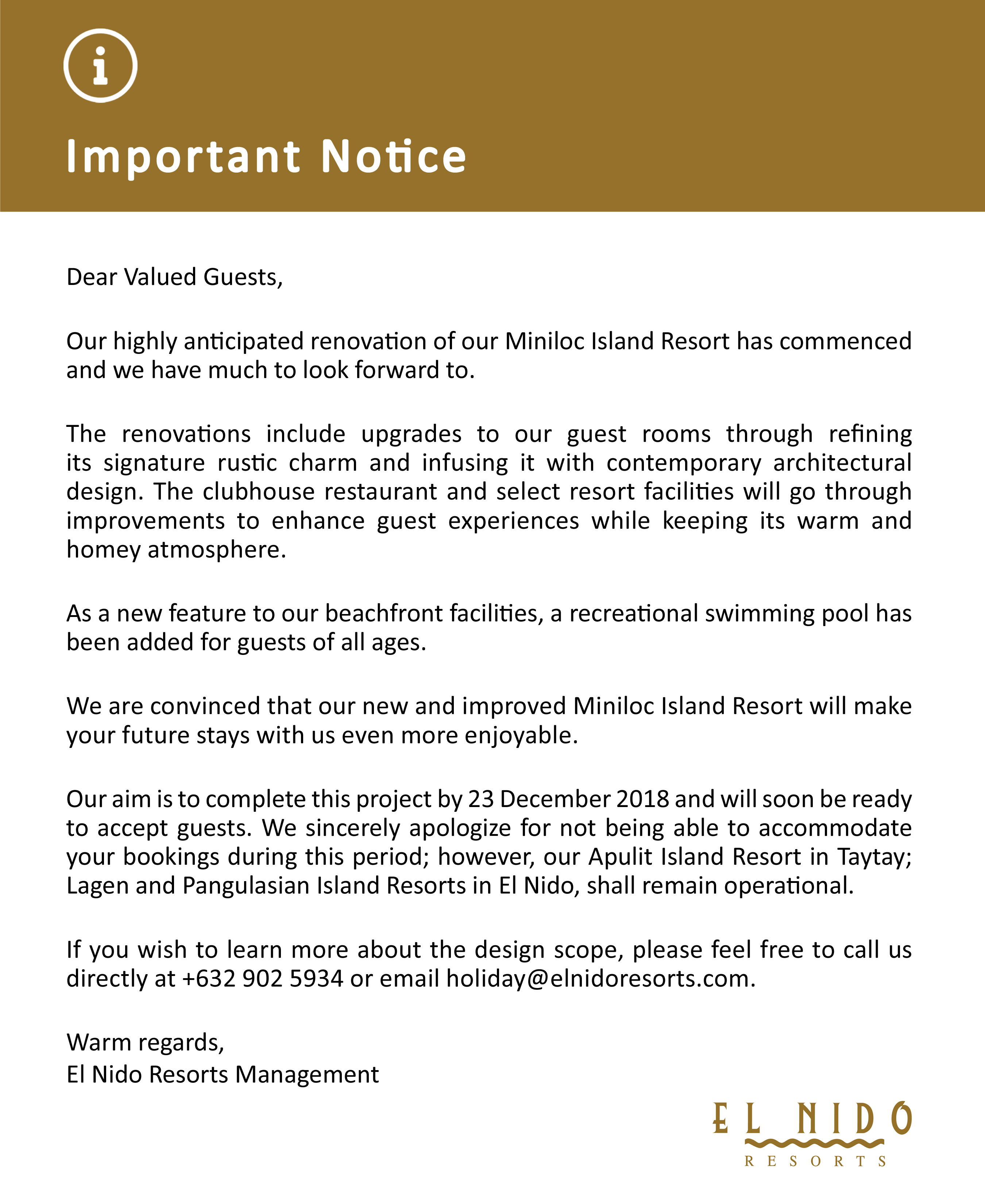 Important Notice MIR-Renovation
