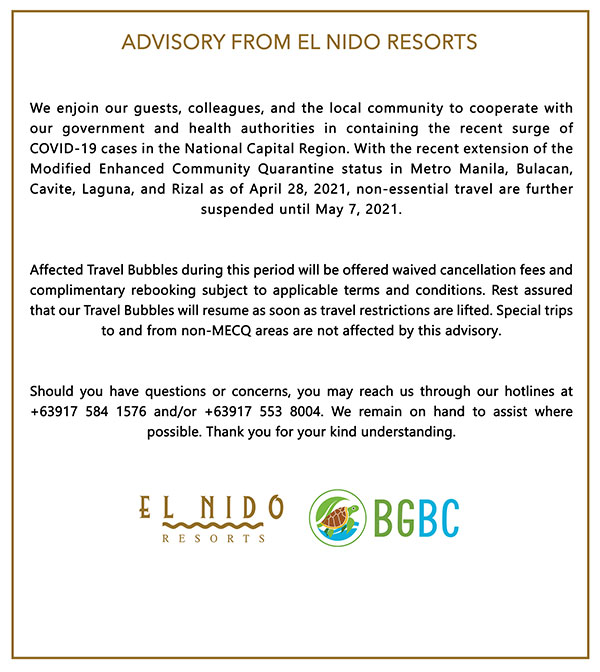 Resort Closure Advisory April 2021
