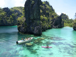 El Nido Resorts activities kayaking at the big lagoon